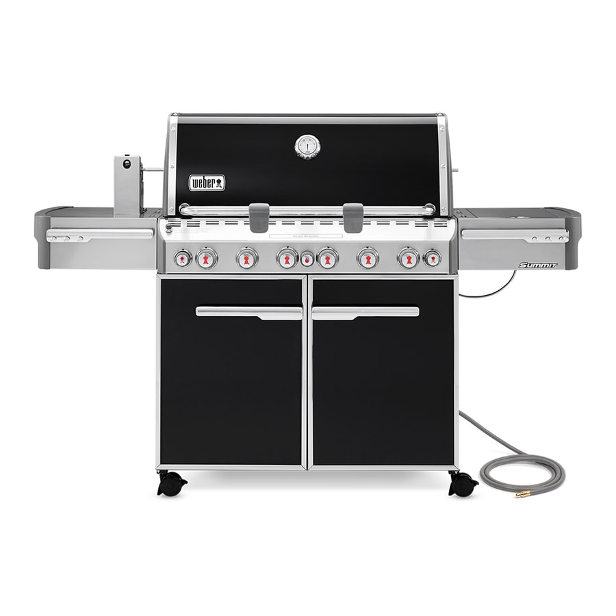 Weber Summit E-670 Black Porcelain Enamel 6-Burner (60,000-BTU) Gas Grill with Side and Rotisserie Burners and Integrated Smoke Box