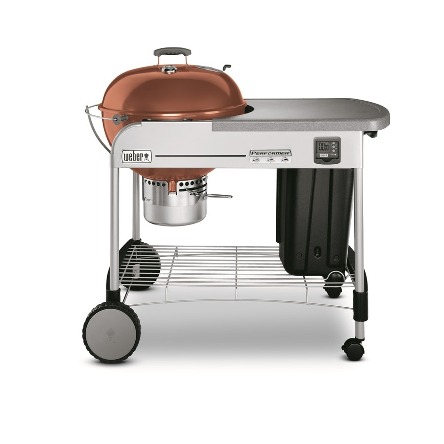WEB Performer Gold 22.5-in Copper Porcelain-Enameled Kettle Charcoal Grill
