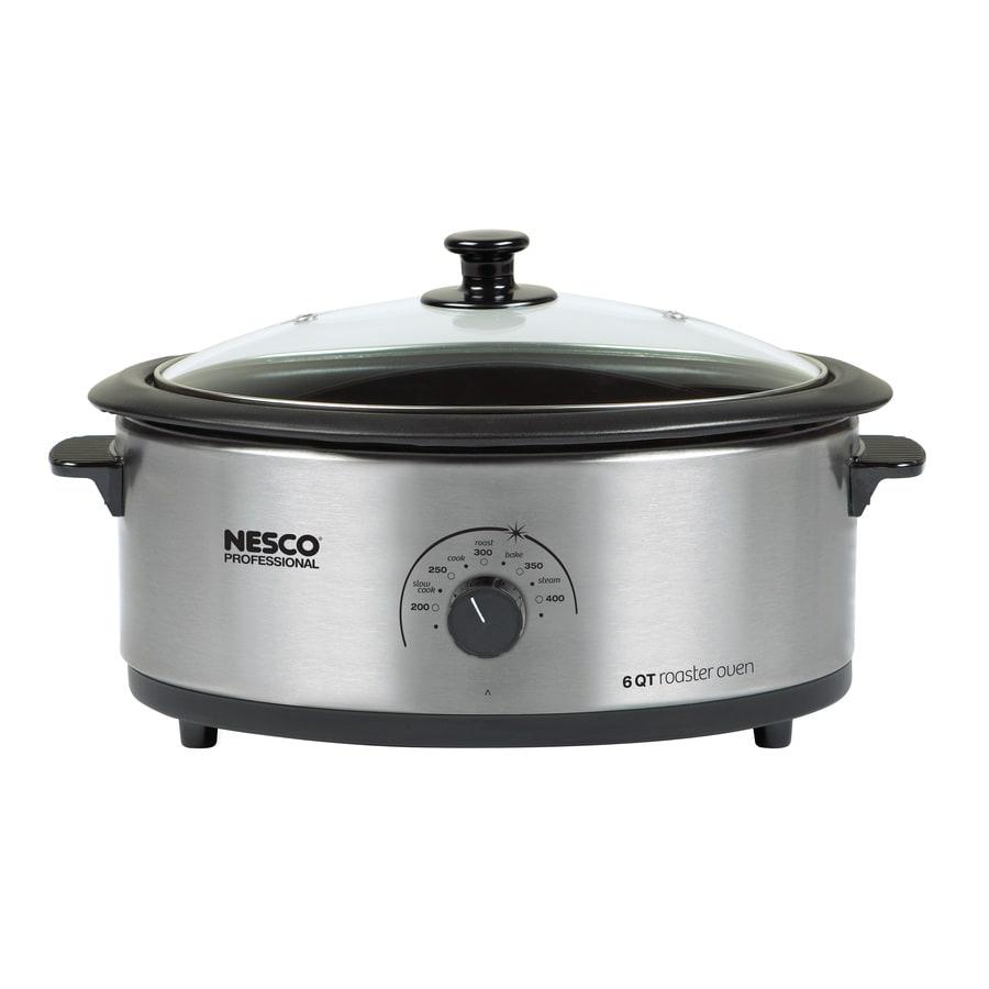 Nesco 6-Quart Stainless Steel Oval Slow Cooker