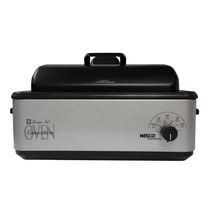 Nesco 12-Quart Stainless Steel Programable Rectangle Porcelain Roaster Oven with Metal Lid