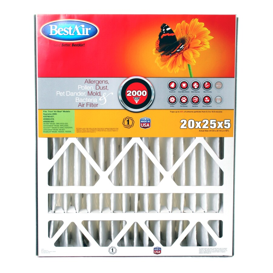 BestAir (Common: 25-in x 20-in x 5-in; Actual: 24.25-in x 19.75-in x 4.875-in) Furnace Filter Pleated Air Filter
