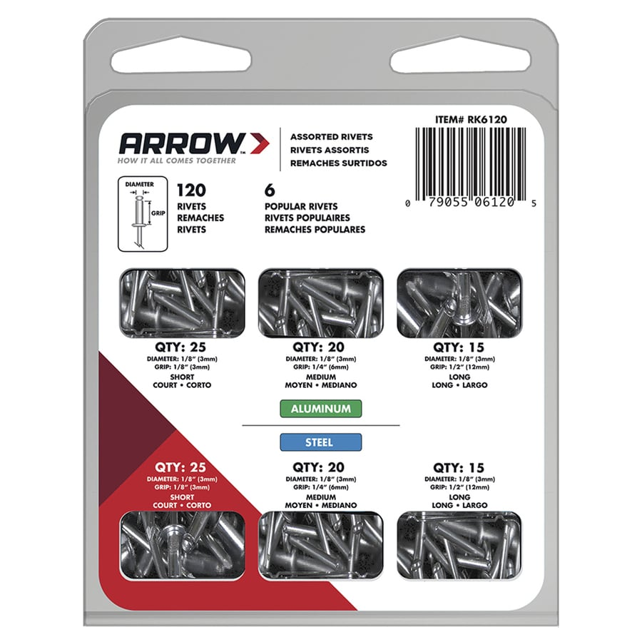 Arrow Fastener 120-Pack Aluminum Rivet Assortment