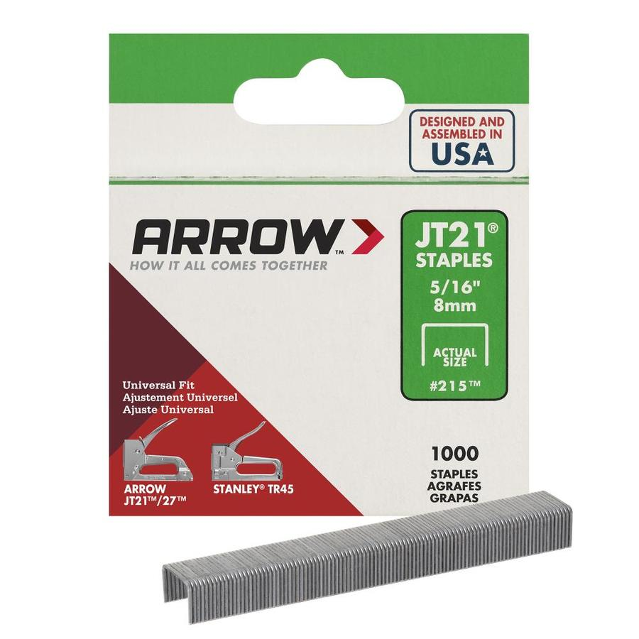 Arrow Fastener 1,000-Count 0.3125-in Wide-Crown Staples