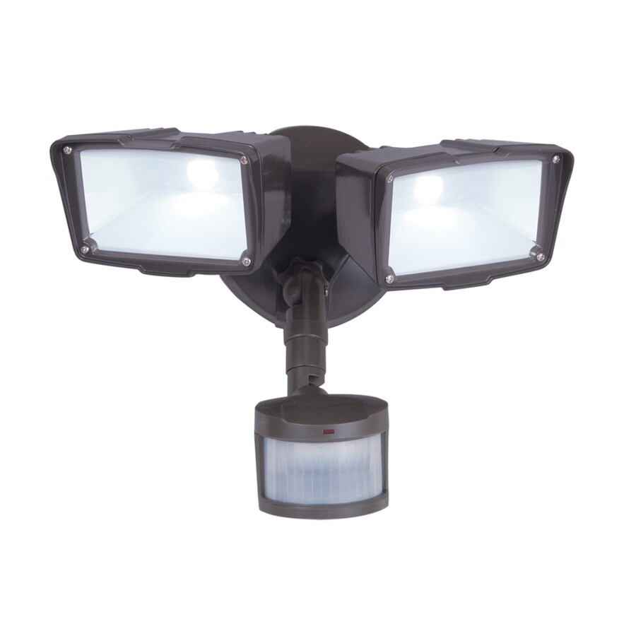 270 degree 2 head bronze led motion activated flood light with timer. Black Bedroom Furniture Sets. Home Design Ideas