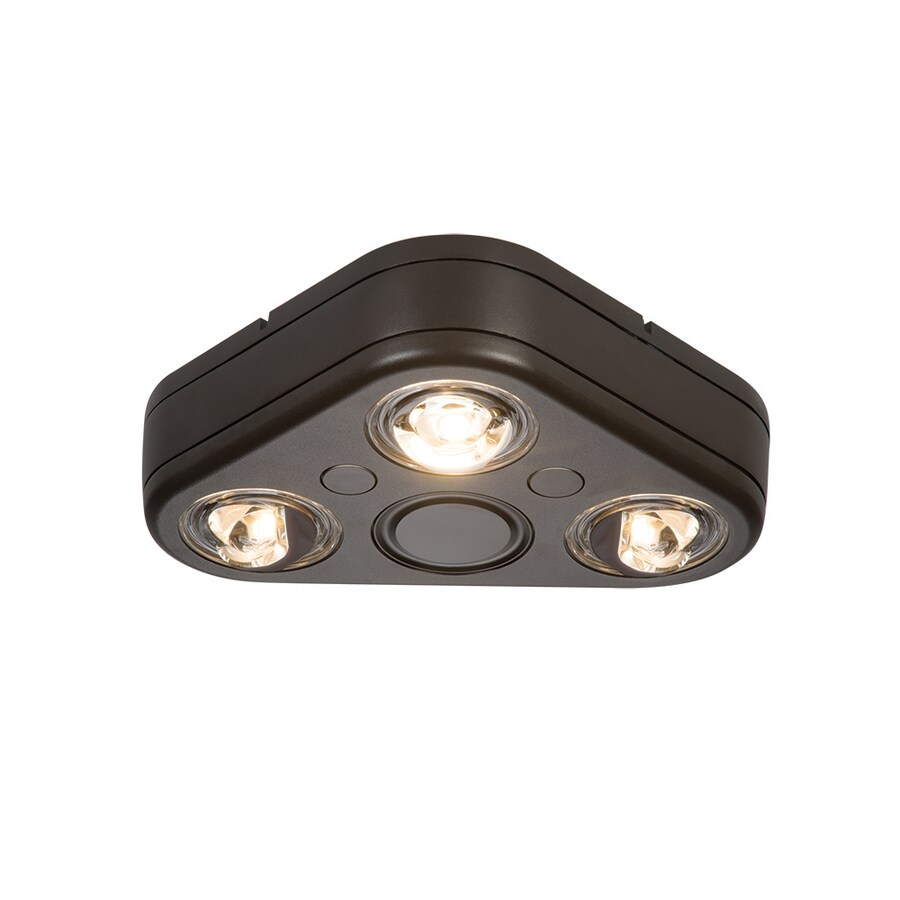 All-Pro Revolve 7.8-in 3-Head LED Bronze Switch-Controlled Flood Light