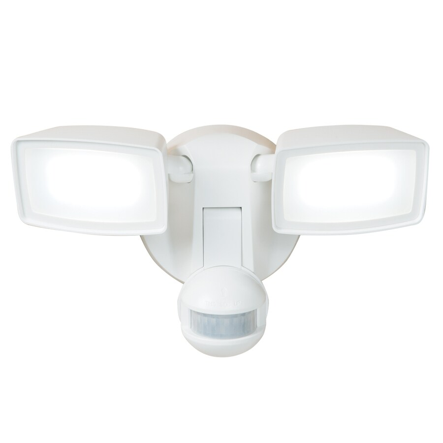 All-Pro 180-Degree 2-Head White LED Motion-Activated Flood Light with Timer