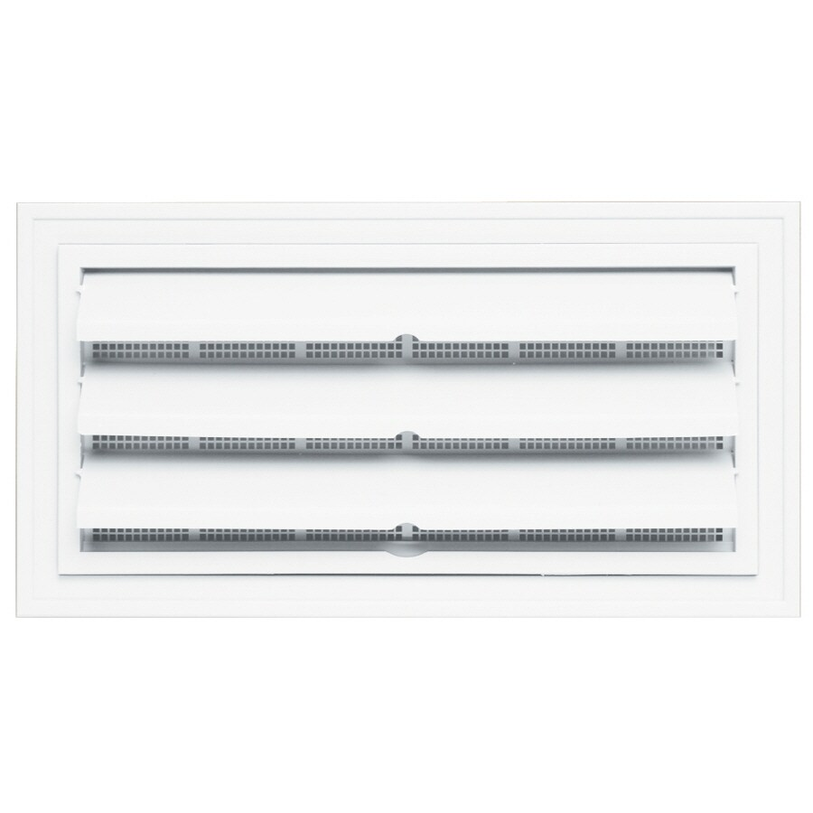 """Builders Edge 9.5"""" x 18.5"""" White Vinyl Foundation Vent with Ring"""