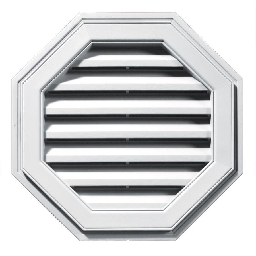 Builders Edge 8-in x 7-in White Octagon Vinyl Gable Vent