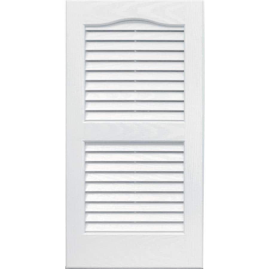 Vantage 2-Pack White Louvered Vinyl Exterior Shutters (Common: 14-in x 27-in; Actual: 13.875-in x 26.6875-in)