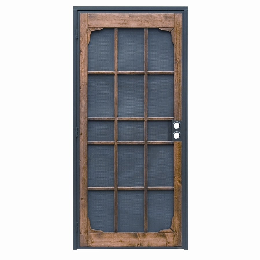Shop precision woodguard oak steel security door common for Metal security doors