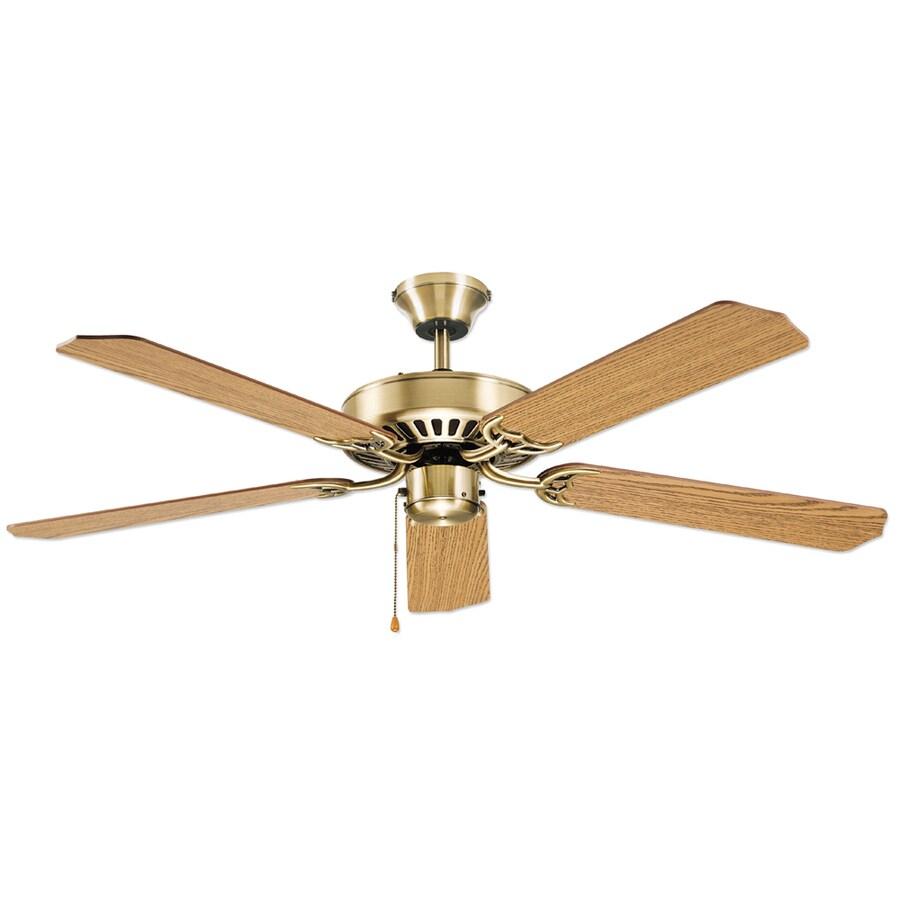 Litex Ultimate 52-in Antique Brass Downrod or Flush Mount Ceiling Fan