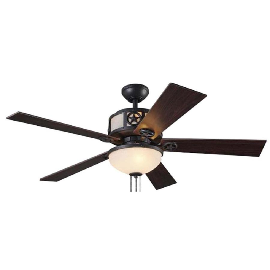 Harbor Breeze Thoroughbred 52-in Matte Black Downrod Mount Indoor Residential Ceiling Fan with Light Kit