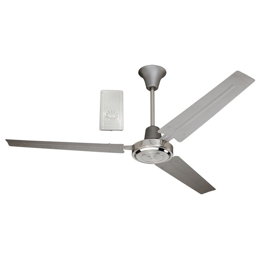 Harbor Breeze 56-in Titanium and Brushed Chrome Downrod Mount Indoor Residential Ceiling Fan with Remote (3-Blade)