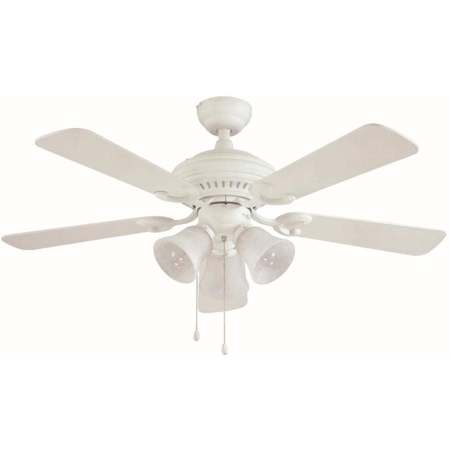 Harbor Breeze 44-in Matte White Downrod or Close Mount Indoor Residential Ceiling Fan with Light Kit