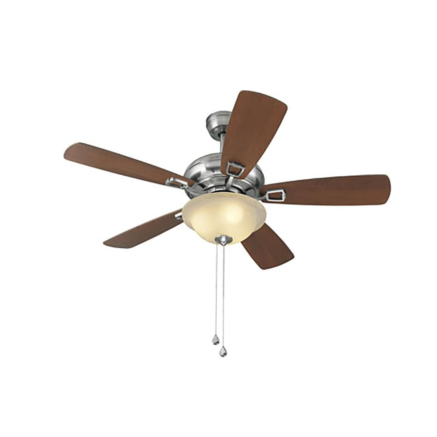 Shop Harbor Breeze Windrise 44 In Brushed Nickel Downrod Mount Indoor Ceiling Fan With Light Kit