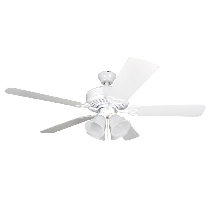Harbor Breeze Springfield 52-in Matte White Multi-Position Indoor Ceiling Fan with Light Kit