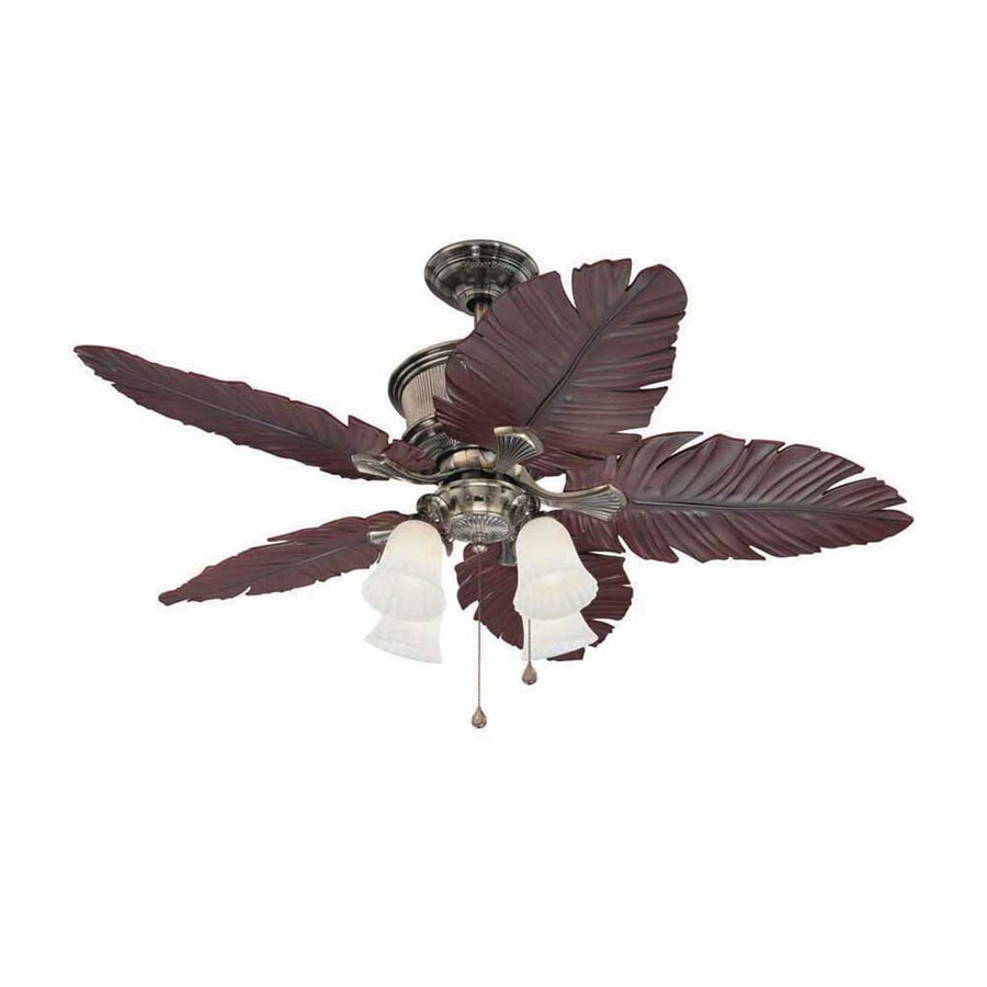 Harbor Breeze Kiawah 52-in Polished Pewter Downrod Mount Ceiling Fan with Light Kit