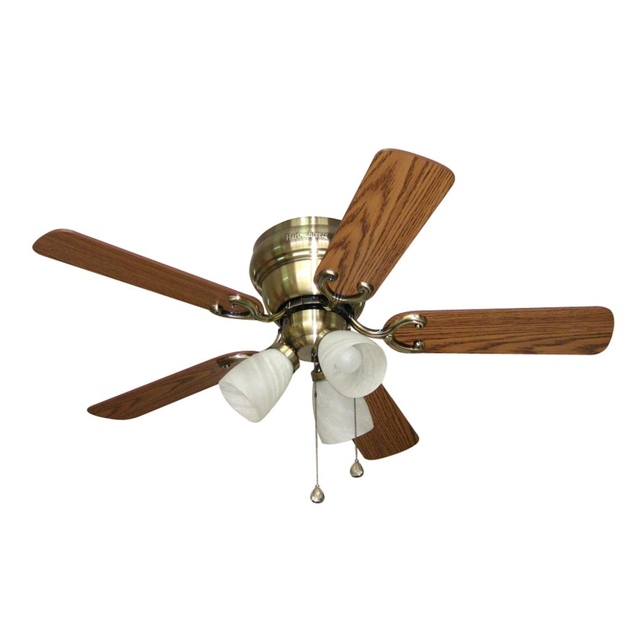 Harbor Breeze Cheshire II 42-in Antique Brass Flush Mount Indoor Ceiling Fan with Light Kit