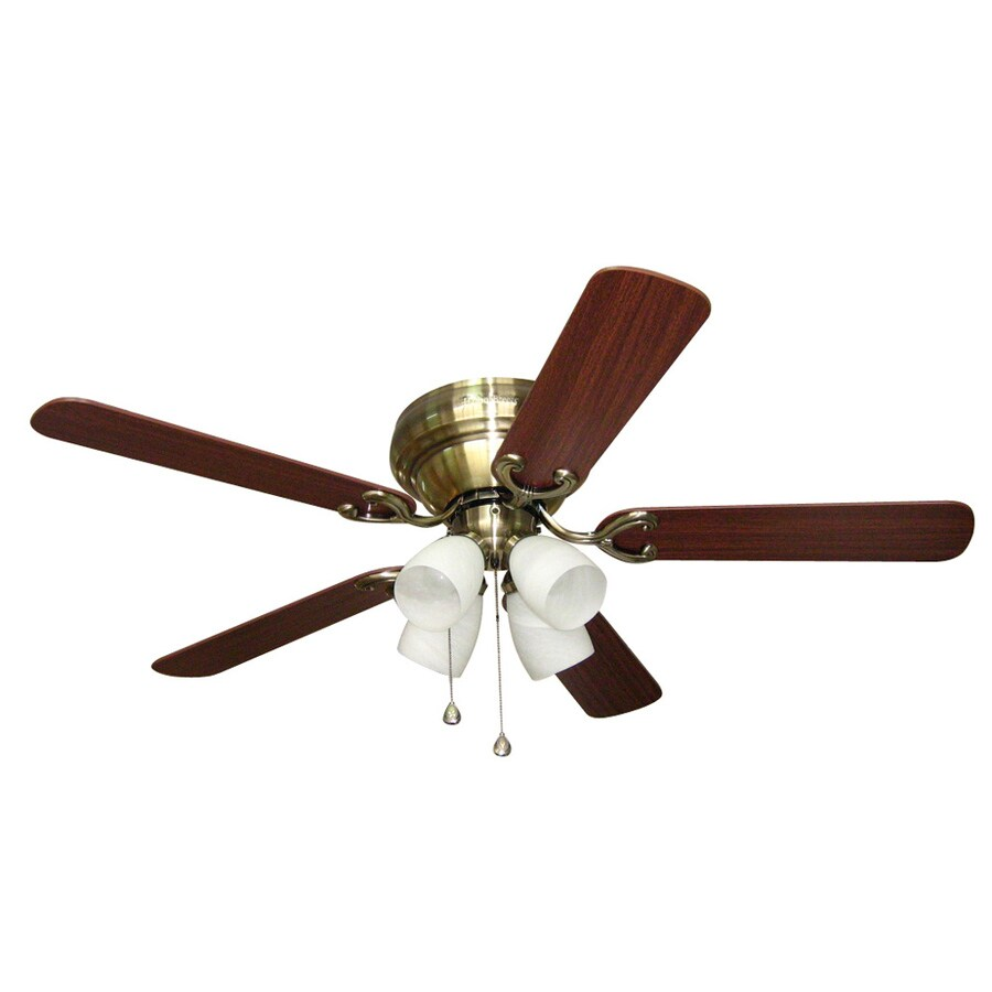 Harbor Breeze Cheshire II 52-in Antique Brass Flush Mount Indoor Ceiling Fan with Light Kit