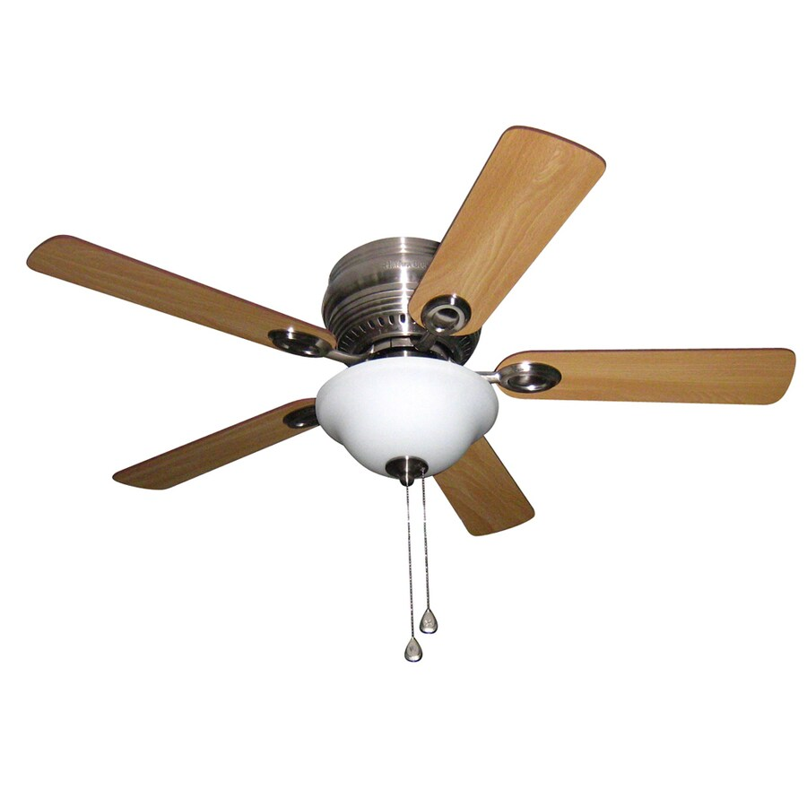 Harbor Breeze Mayfield 44-in Brushed Nickel Flush Mount Indoor Residential Ceiling Fan with Light Kit