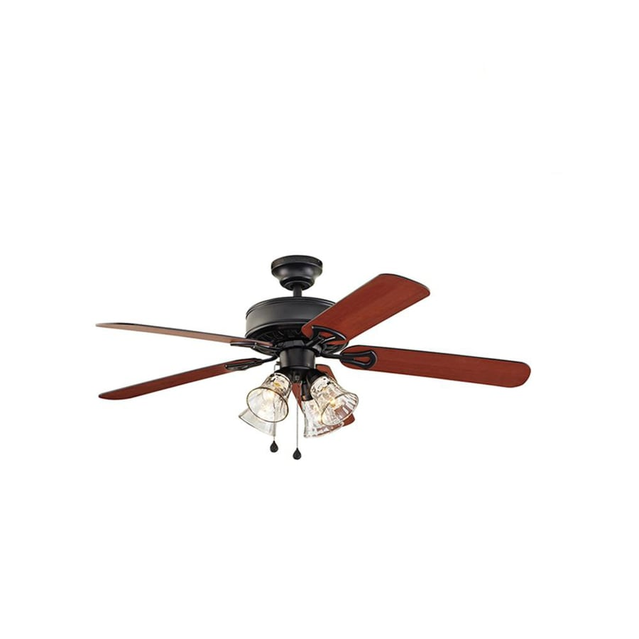 Harbor Breeze Springfield II 52-in Black Downrod or Close Mount Indoor Residential Ceiling Fan with Light Kit