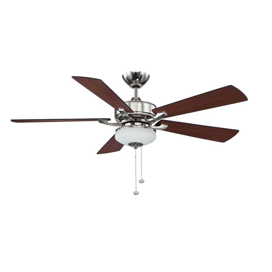 Litex 52-in Polished Nickel Downrod Mount Indoor Residential Ceiling Fan with Light Kit