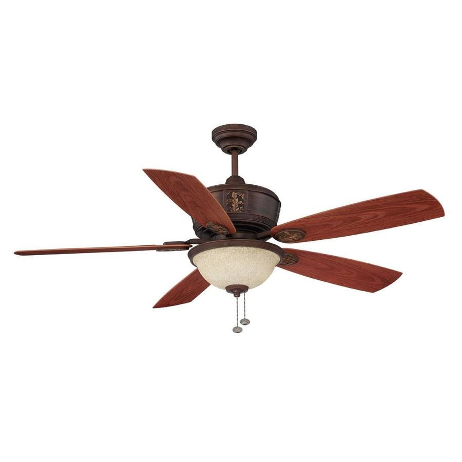 Litex 52-in Antique Bronze Downrod Mount Indoor/Outdoor Residential Ceiling Fan with Light Kit