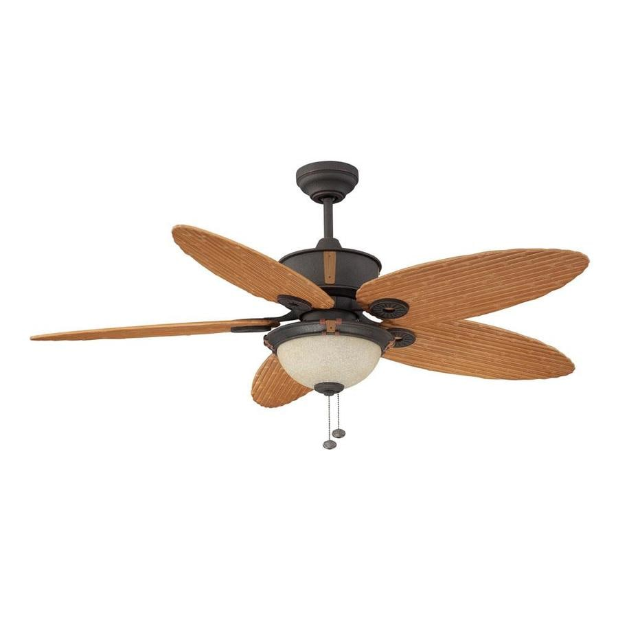 Litex 52-in Oil Rubbed Bronze Downrod Mount Indoor/Outdoor Residential Ceiling Fan with Light Kit