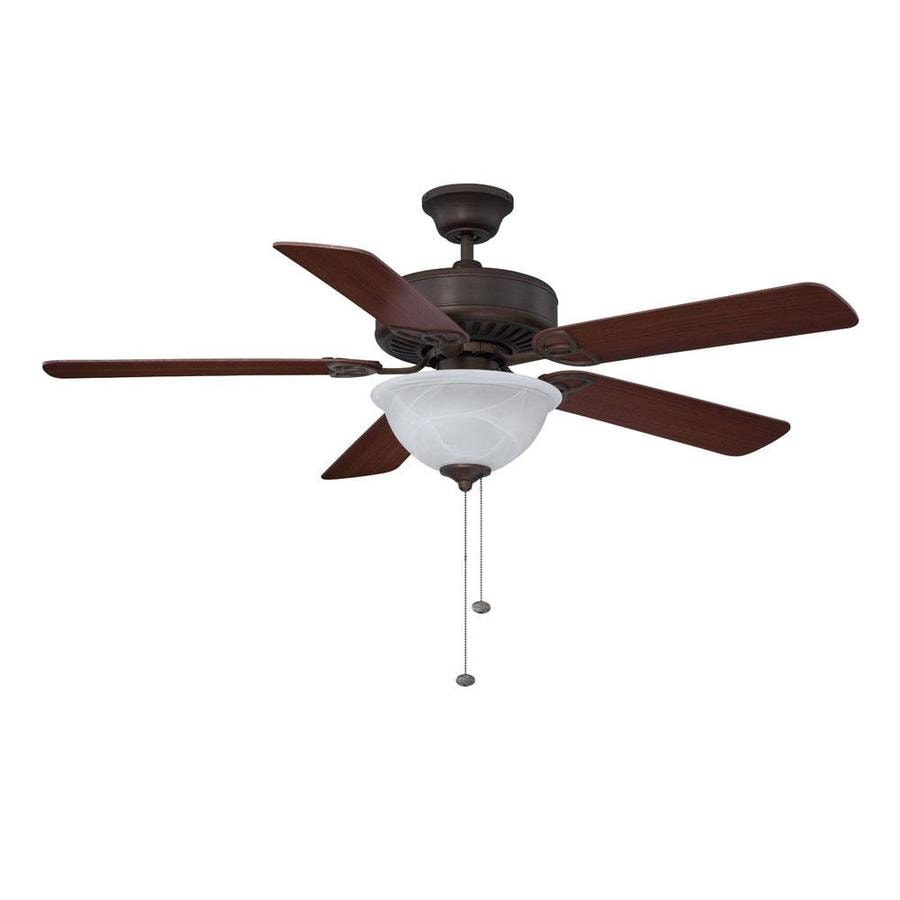 Litex 52-in Aged Bronze Downrod or Close Mount Indoor Residential Ceiling Fan with Light Kit