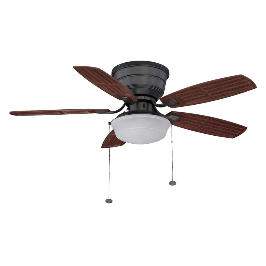 Litex 44-in Natural Iron Flush Mount Ceiling Fan with Light Kit