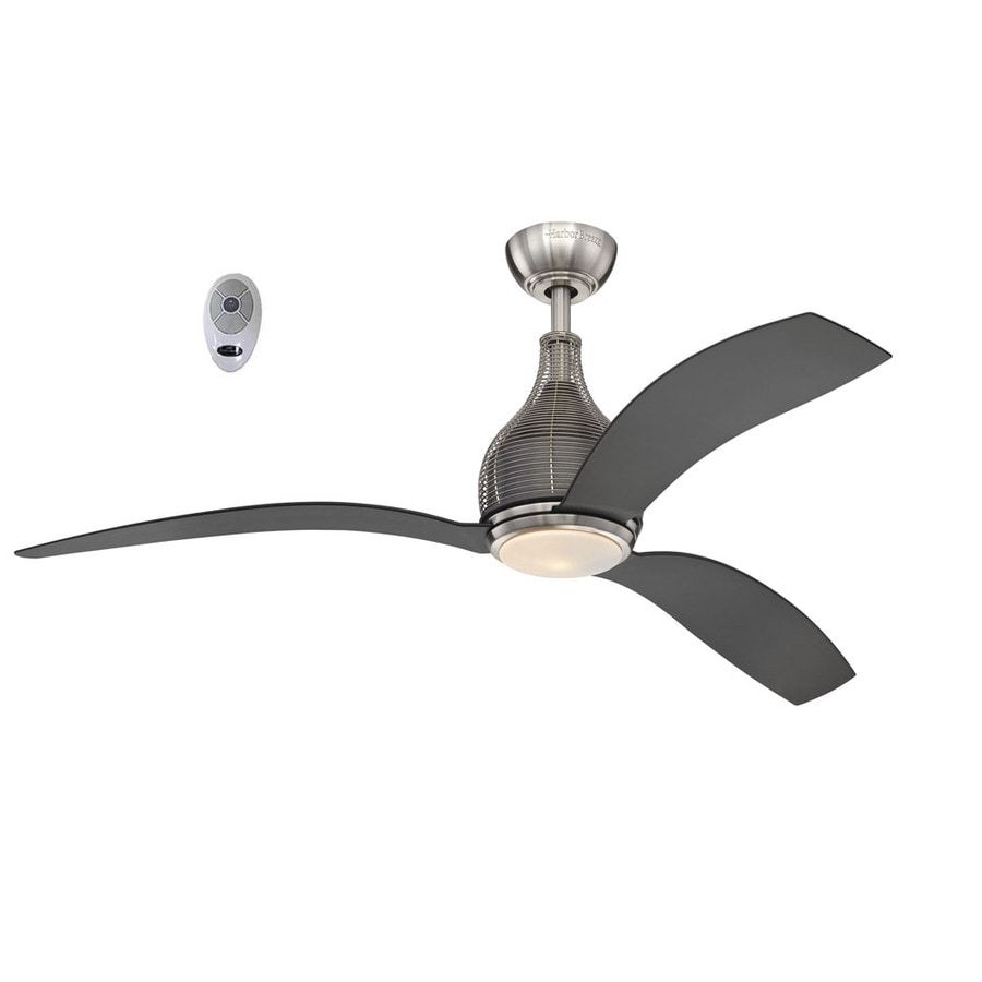 Litex 56-in Brushed Nickel Downrod Mount Indoor Residential Ceiling Fan with Light Kit and Remote (3-Blade)