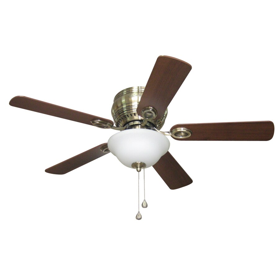 Harbor Breeze Mayfield 44-in Antique Brass Flush Mount Indoor Residential Ceiling Fan with Light Kit