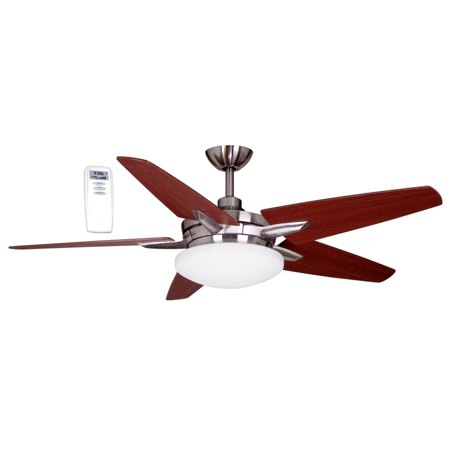 Litex 52-in Brushed Nickel Downrod Mount Ceiling Fan with Light Kit and Remote Control