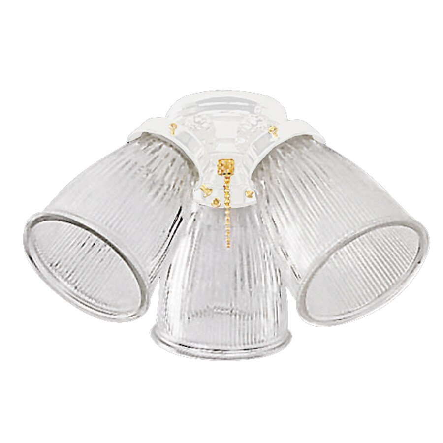 Harbor Breeze 3-Light White Ceiling Fan Light Kit with Clear Cone Shade