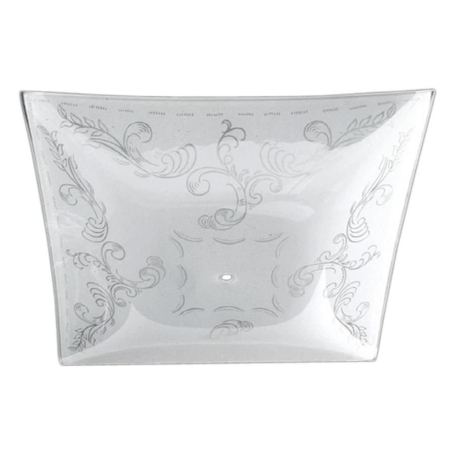 Litex 1.85-in H 14-in W White Etched Glass Square Ceiling Fan Light Shade