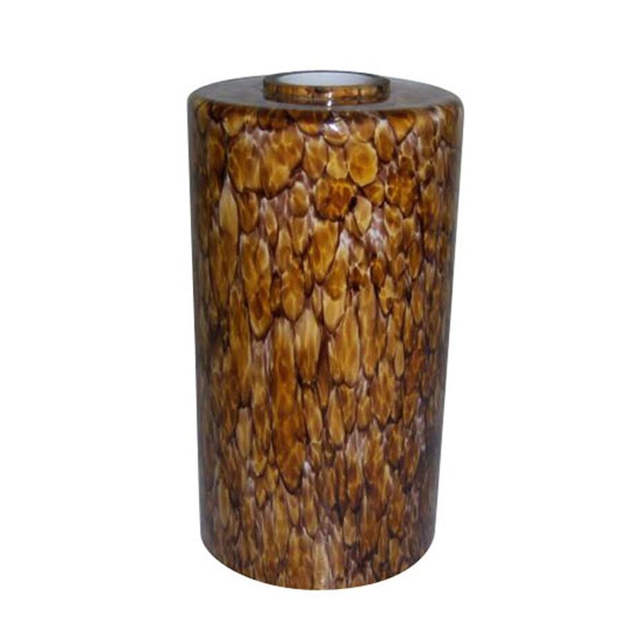 Portfolio 7.5-in H 4.25-in W Tiger's Eye Art Glass Cylinder Pendant Light Shade