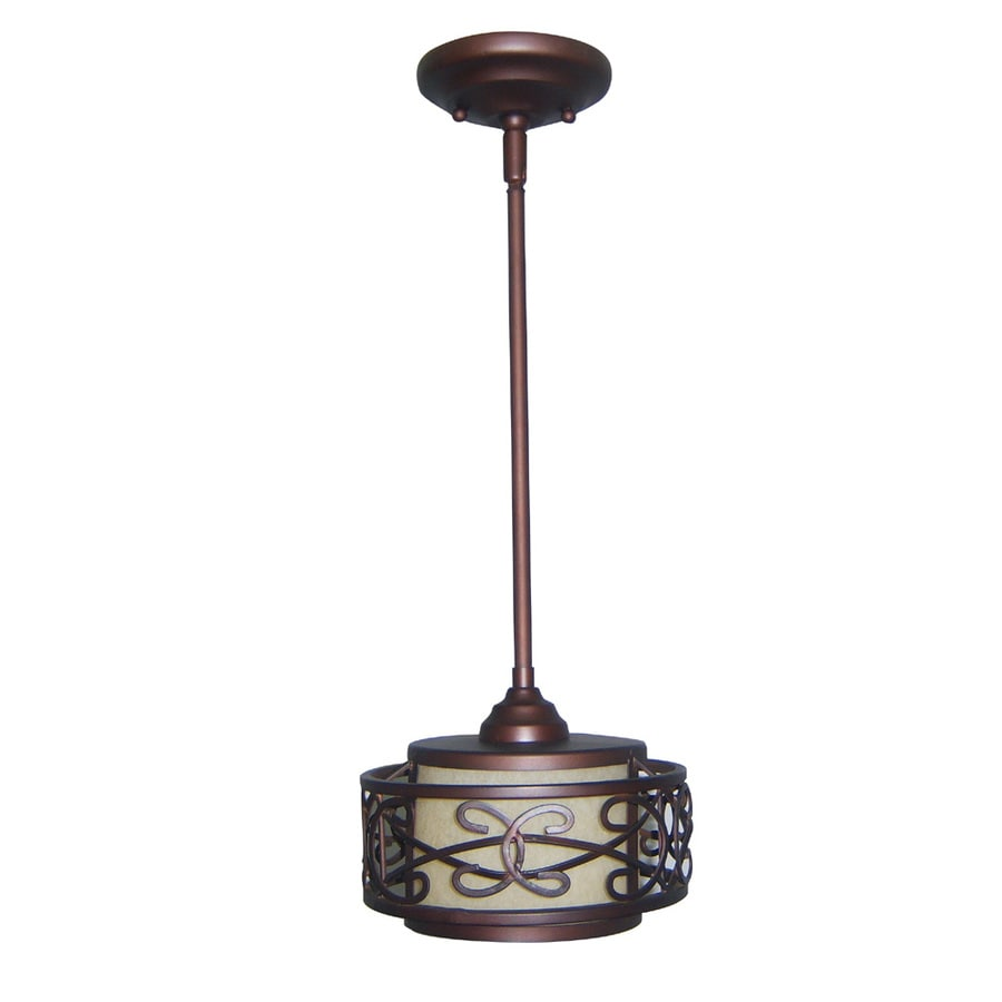 allen + roth 8-in French Bronze Mini Tinted Glass Pendant