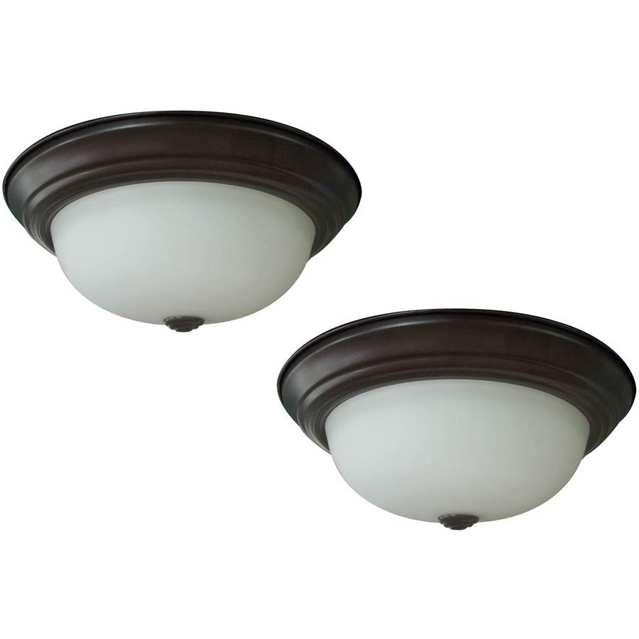 Project Source 2-Pack 13-in W Bronze Integrated Led Ceiling Flush Mount Light