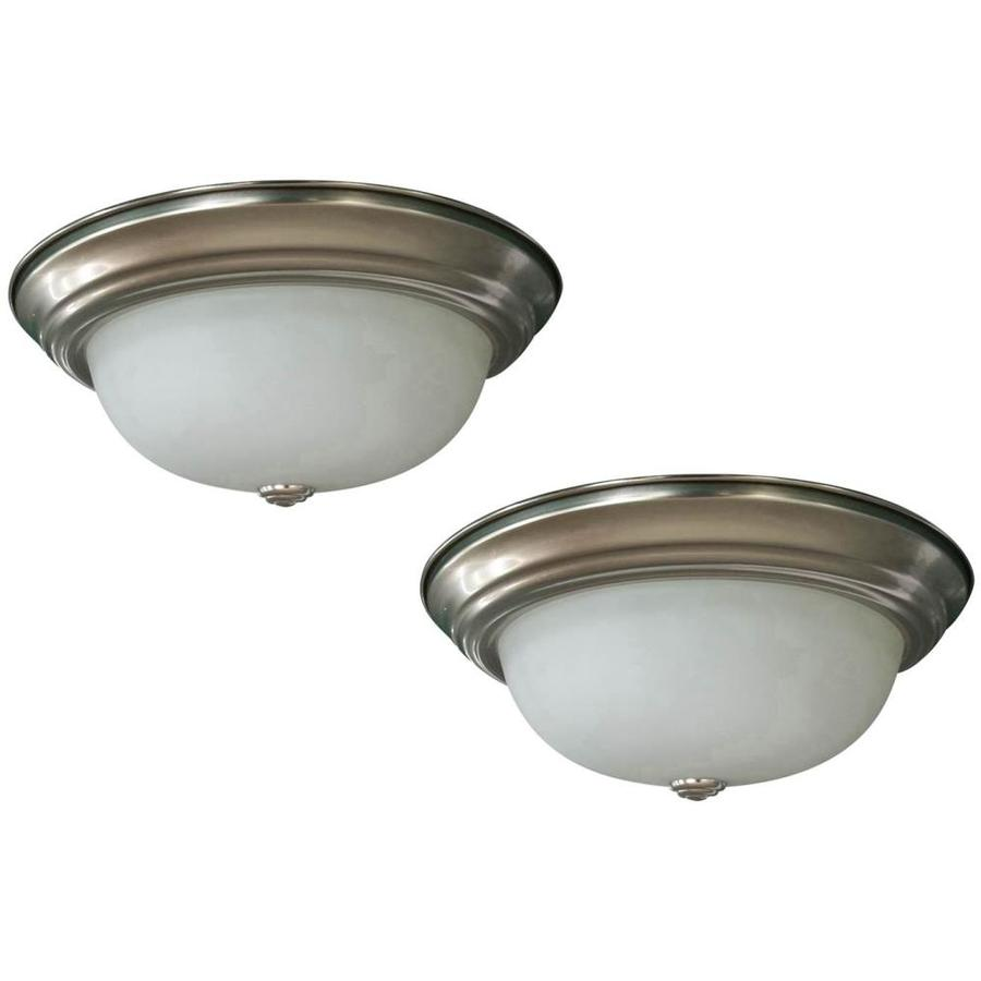 Project Source 2-Pack 13-in W Brushed Nickel Integrated Led Mount Location Band Flush Mount Light