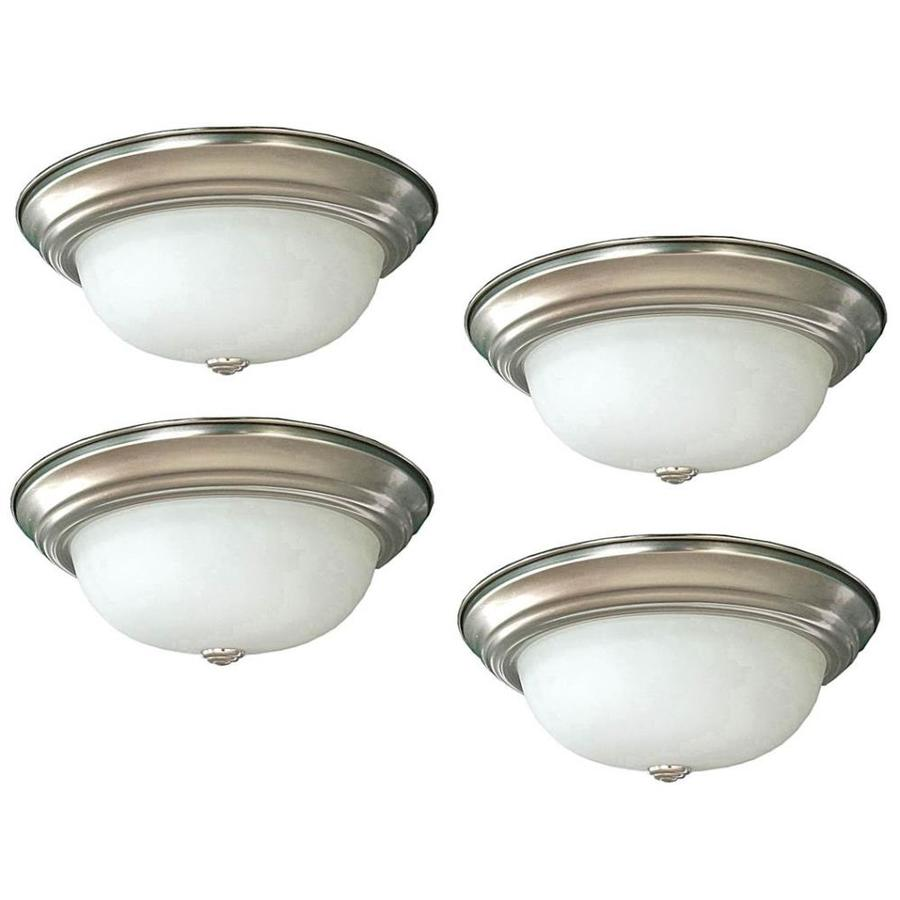 Project Source 4-Pack 11-in W Brushed Nickel Integrated Led Ceiling Flush Mount Light