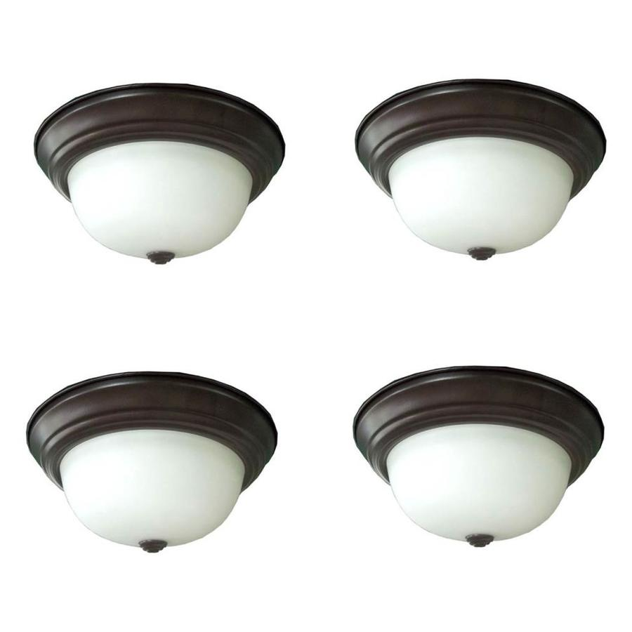 Project Source 4-Pack 11-in W Bronze Integrated Led Mount Location Band Flush Mount Light