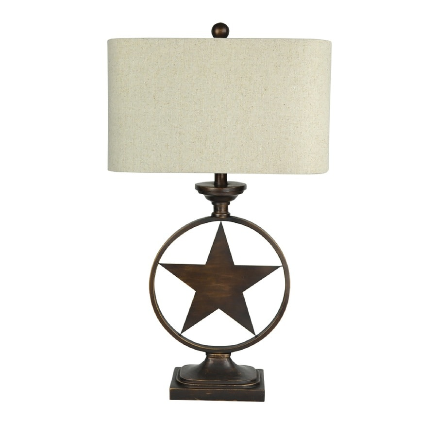 Portfolio Thoroughbred 29.5-in 3-Way Bronze Indoor Table Lamp with Fabric Shade