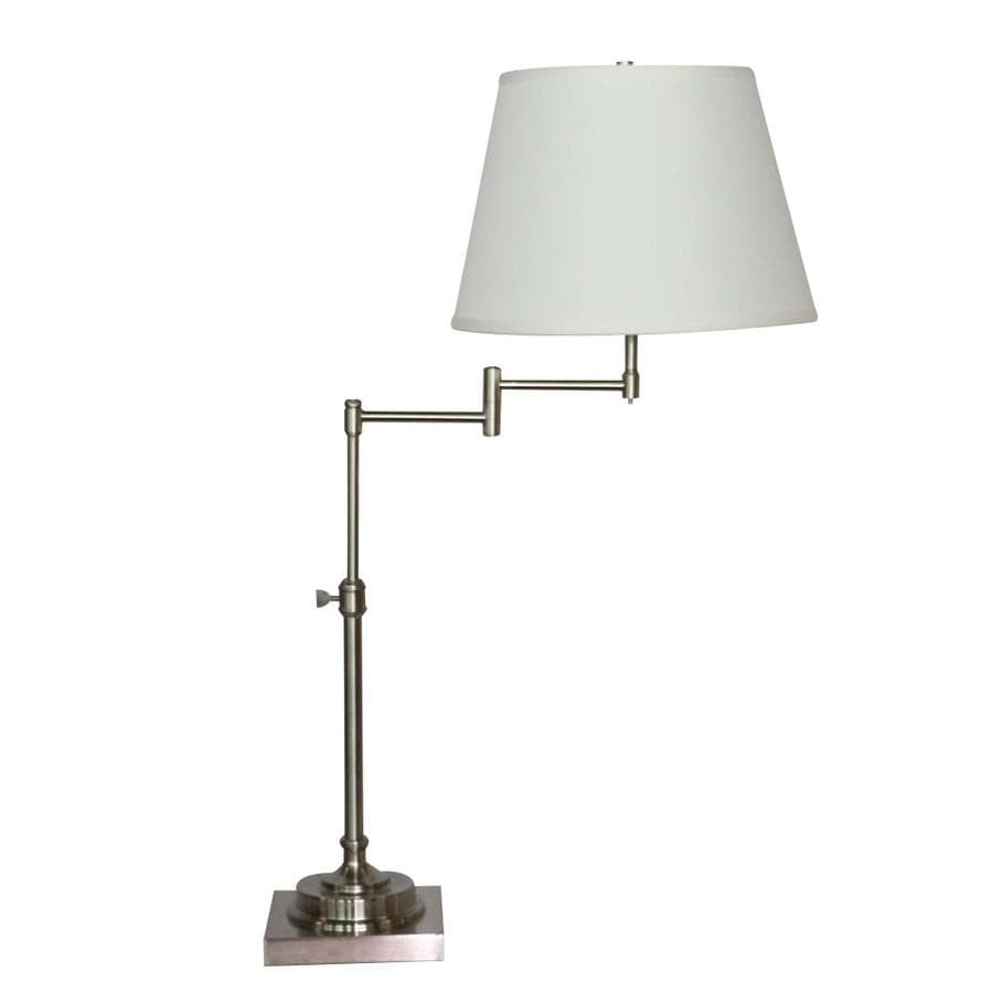 allen + roth Hillam 31-in Brushed Nickel Indoor Table Lamp with Fabric Shade