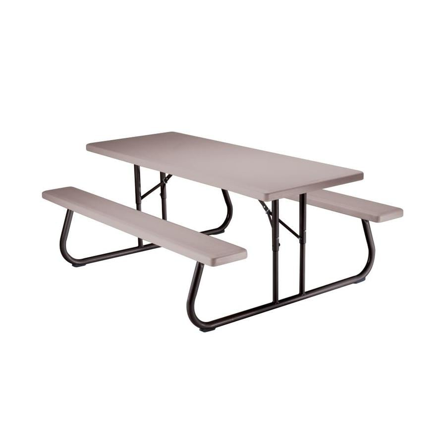 LIFETIME PRODUCTS 6-ft Gray Resin Rectangle Picnic Table