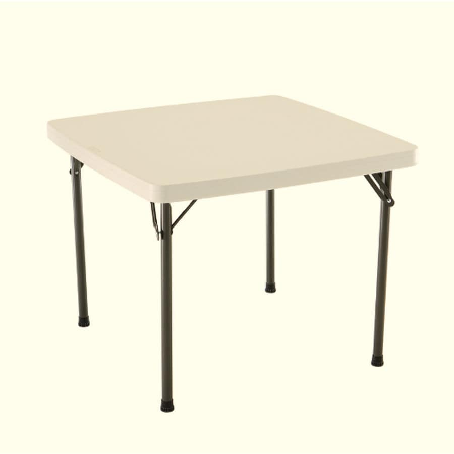 Products 37 in x 37 in square steel almond folding table at lowes com