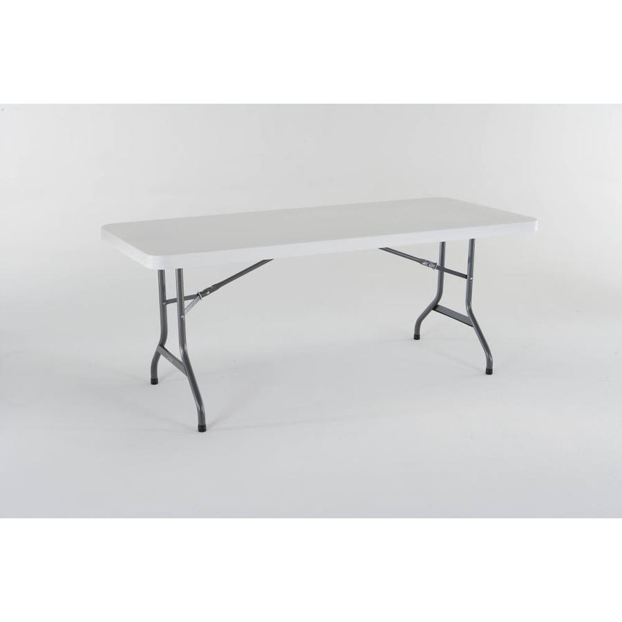 shop lifetime products 72 in x 30 in rectangle steel white folding table at. Black Bedroom Furniture Sets. Home Design Ideas