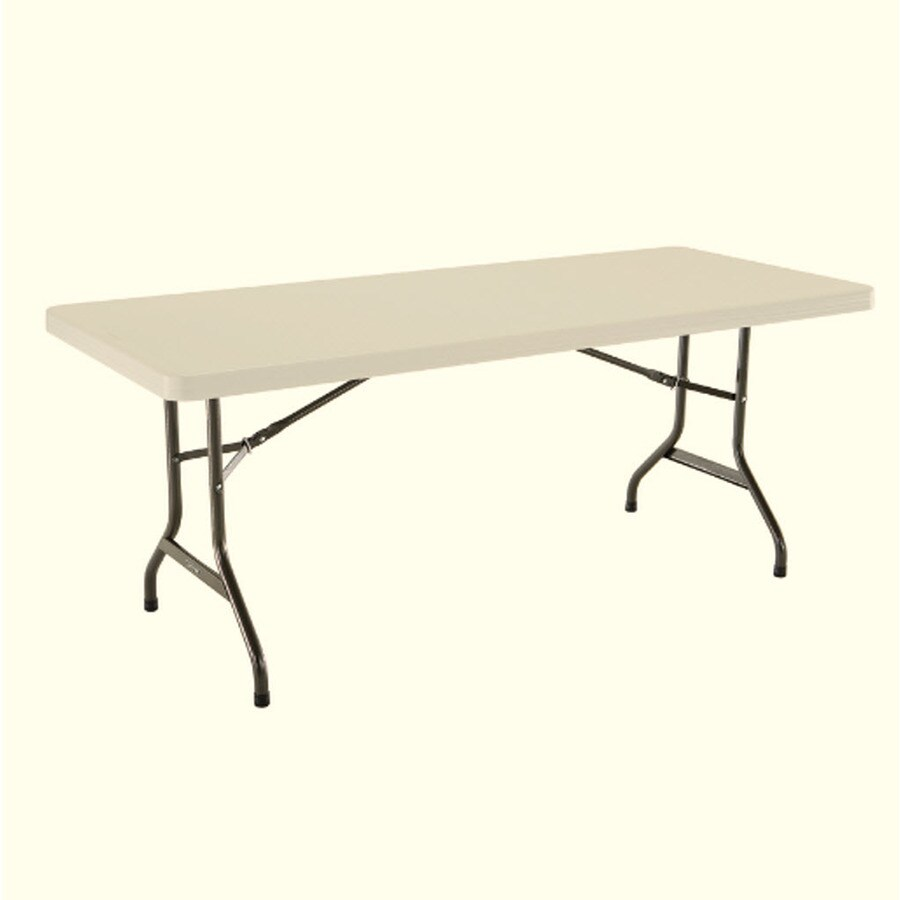 LIFETIME PRODUCTS 72-in x 30-in Rectangle Steel Almond Folding Table