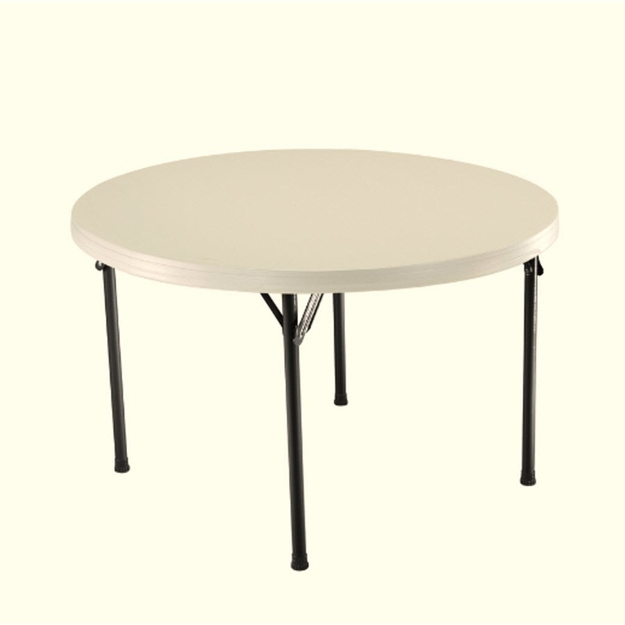 LIFETIME PRODUCTS 46-in x 46.5-in Circle Steel Almond Folding Table