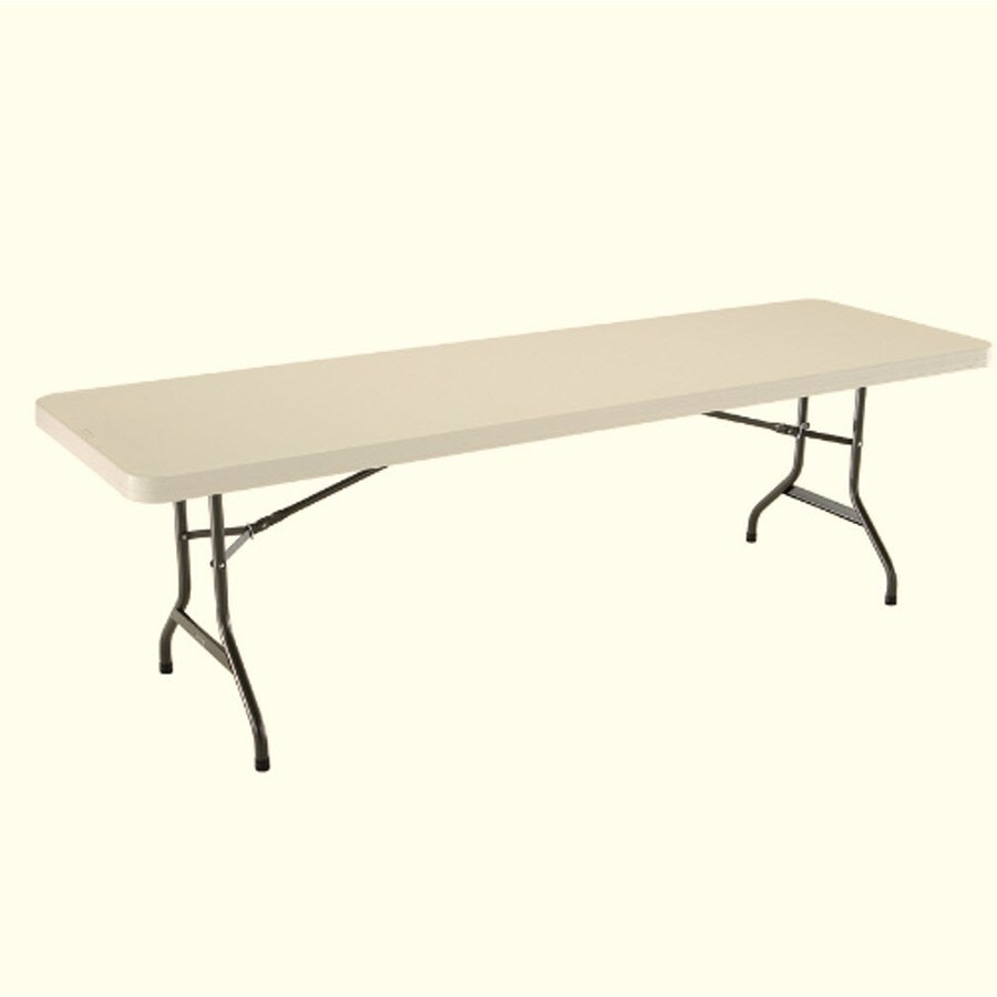 LIFETIME PRODUCTS 96-in x 30-in Rectangle Steel Almond Folding Table