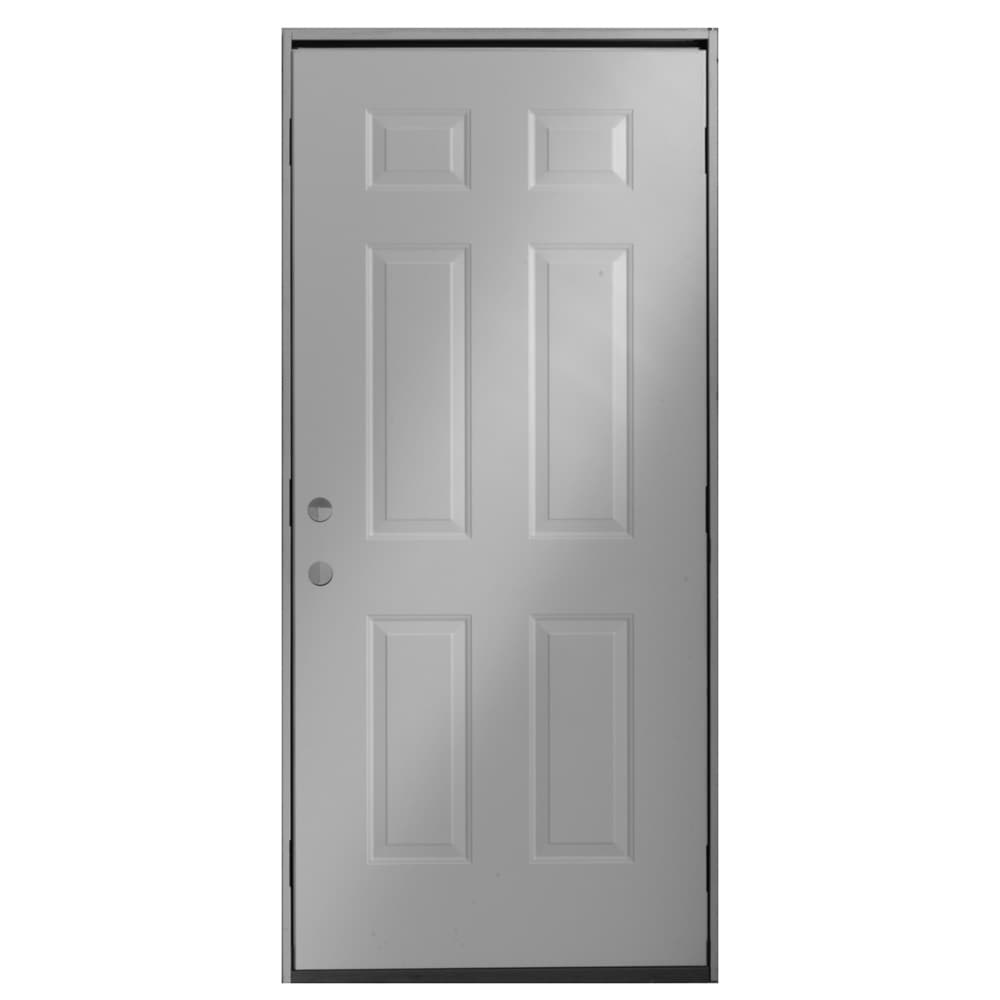"ReliaBilt 36"" Right Hand 6-Panel No Brick Mould Steel Entry Door Unit"